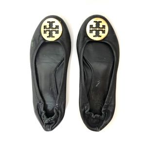 Tory Burch Black and Gold Reva Ballet Flats
